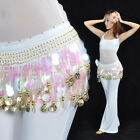 NEW Belly Dance Hip Scarf Belt Sequins & 88pcs Golden Coins 12 Colors