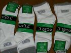 Excell Sport Trainer Athletic Ankle socks size 10-13 White w/ Gray 6 or 12 Pairs