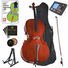 Cecilio Student Cello 4/4 3/4 1/2 1/4 1/8 +Tuner+Lesson Book+Stand ~CCO-100