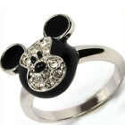 Mickey Mouse Multi Crystal Black Enameled Ring