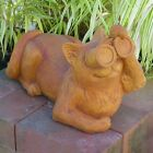 Cast Stone Cement Laying Birdwatching Cat Outdoor Garden Statue