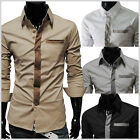 (TSH) Mens Casual Slim Fit Tie Patched Pocket Long Sleeve Dress Formal shirts