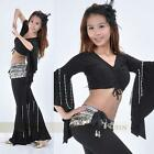 Belly Dance Bead Chain Flared Costume 2 pcs Top & Pants 9 Colors