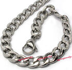 7.5mm Silver Tone Stainless Steel Miami Cuban Link Chain Necklace