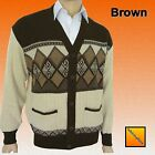 Mens Classic New Bellisimo Argyle Grandad Button-Front  Cardi Cardigan Brown