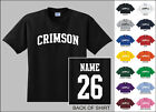 Crimson College Letters Custom Name & Number Personalized T-shirt