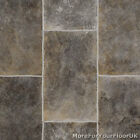 Grey Rectangle Tile Vinyl Flooring, Slip Resistant Lino 3m, Cushion Floor