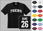 76ers College Letters Custom Name & Number Personalized Basketball T-shirt