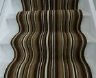 Lima Dark Brown Beige Modern Striped Wide Stair Carpet Runner Rug Long Length