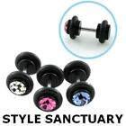 Fake Black Acrylic Flesh Plug Earring Ear Stretcher Crystal Stone CZ 8mm Cheater