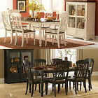 7 PC Casual Country Antique White Black & Cherry Two Tone Wood Solid Dining set