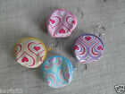 Novelty Girly Heart Patten Coin Purse Keyring / Key Chain * CHOOSE COLOUR * BN
