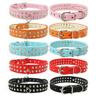New 2 Rows Rhinestone Diamante Leather Dog Collars Pets Crystal Collar S M size