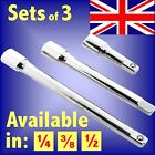 SOCKET EXTENSION BARS ALL SIZES 1/4 3/8 1/2 SQUARE DRIVE 75 to 460mm (3 to 18)