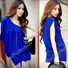 Women's Stylish One Shoulder Cotton Sexy Casual Cocktail Evening Mini Dress #239