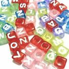 50 pieces 6mm Assorted colours Individual Alphabet Letter Cube Beads - A-Z