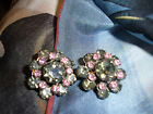 VINTAGE PINK & MOSS GREEN RHINESTONE EARRINGS CLIP$28