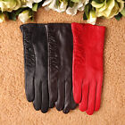 Elegant Women Italian nappa leather gloves w/ partial ruched decoration