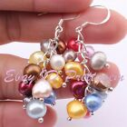 4-5x5-6mm Freshwater Pearl Freeform Natural Gemstone Silver Plated Hook Earring
