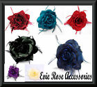 New Feather Spray & Rose Flower Wrist Corsage Hair Fascinator Clip or Brooch Pin