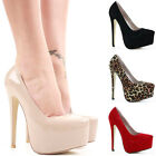Womens Party Platform Pumps High Heels Stiletto Ladies Court Shoes Size Wedding