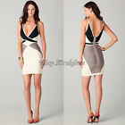 V Neck Bandage Bodycon Dress Evening Cocktail Party Dresses White/Gray XS S M L