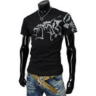 (CSTH) THELEES Mens Casual Stylish Coolmesh Fabric Tatoo Printing Sport Tshirts