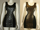 NEW LADIES WOMEN STUNNING MINI BODY CONE LEATHER LOOK BACK LESS DRESS S/M, M/L