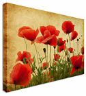 Vintage Sepia Poppy Field  - Canvas Wall Art Pictures For Home Interiors