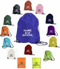 CUSTOM PE BAG BOYS OR GIRLS NYLON DRAWSTRING GYMSAC SWIM KIT BAG PERSONALISED