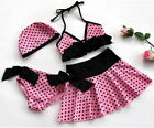 Girls Swimwear Kids Bikini Swimsuit Bathing Tankini 4 pcs Swim Clothes New Pink