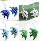 Polychrome Cartoon Tropical Fish Lampwork Glass Pendant Dangles Earring kj642