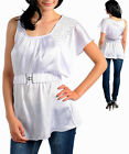 LADIES WHITE ONE SHOULDER PARTY TOP W/BEADS SIZE 8 10 12 14 S L NEW