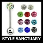 Ferido Crystal Tongue Bar Barbell Ear Nipple Ring Shamballa Surgical Steel 16mm
