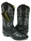 MEN'S BLACK LEATHER BIG BELLY Cut CROCODILE ALLIGATOR COWBOY BOOTS WESTERN RODEO