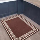 Brown Plain Border Thick Quality Anti Slip Mat Machine Washable Large Small Rug