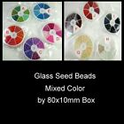Assorted Colour Seed Beads by 80x10mm box - over 1000 beads - Various Colour