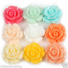 Free Ship 36 Rose Resin Flower Flat Back Cabochons 13x6mm to Choose