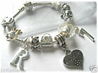 "CHILDRENS GIRLS 7"" DAUGHTER INITIAL LETTER AGE SILVER CHARM BRACELET 10 CHARMS"
