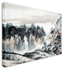 Japanese / Chinese Painting Red Mountain Huts Canvas Wall Art Print