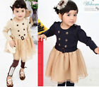Girl Dress Long Sleeve Kids Clothes 1-6Y Double Breasted Baby Party Costume NWT