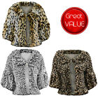 SOFT FAUX FUR SHRUG ANIMAL PRINT EVENING TIPPET CROPPED BOLERO PARTY JACKET