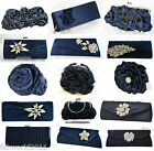 NAVY BLUE Satin Floral Pattern/Crystal Flower Evening Handbag Clutch from £7.59!