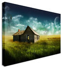 House In Field With Moon Canvas Prints Wall Art Picture Large Any Size