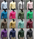Mens Fashion Luxury Casual Slim Fit Stylish Solid Color Dress Shirts 17 Color