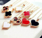 2012  Women Fashion Sexy Four Leaf Heart Collarbone Chain Necklace #FANECK109