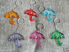 Funky Minature See-Thru Chunky Plastic Umbrella Brolly Keyring * Choose Colour