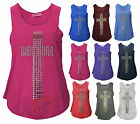 Womens Ladies Muscle Back Sleeveless Cross Peace Gold Studded Top Vest Tee Tank