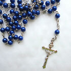 Lovely Rosary Beads Necklace Bracelet Silver Tone Crucifix  35 Variation Colours