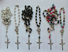 Lovely Rosary Beads Necklace With Silver Tone Crucifix In Variation Colours